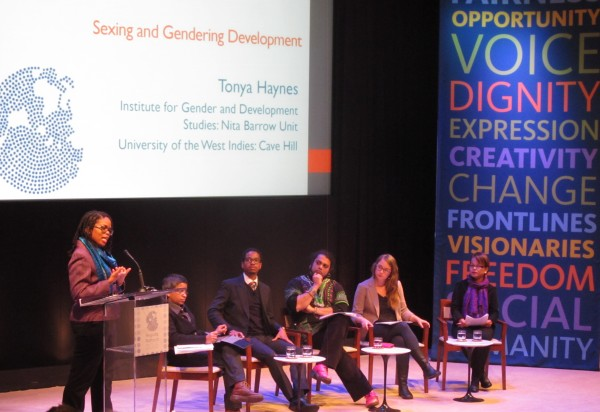 "Tonya Haynes of CatchAFyah Caribbean Feminist Network leads the teach-in for Session 2 on ""Sexing and Gendering Development,"" at the Ford Foundation during the Regions Refocus 2015 launch."