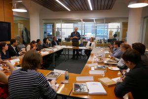 Author Henrik Berggren discussing Hammarskjöld with UN civil servants.