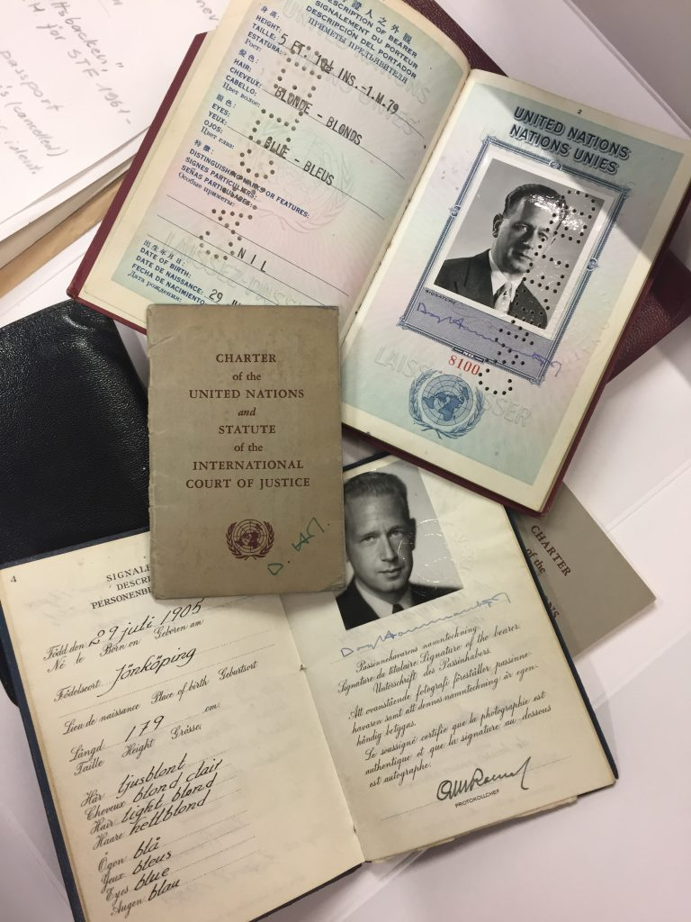 The UN Charter, Dag Hammarskjöld's UN passport and Swedish passort found in his briefcase.