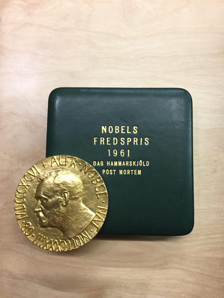 Dag Hammarskjöld's Nobel Peace Prize medal, awarded posthumously in 1961.