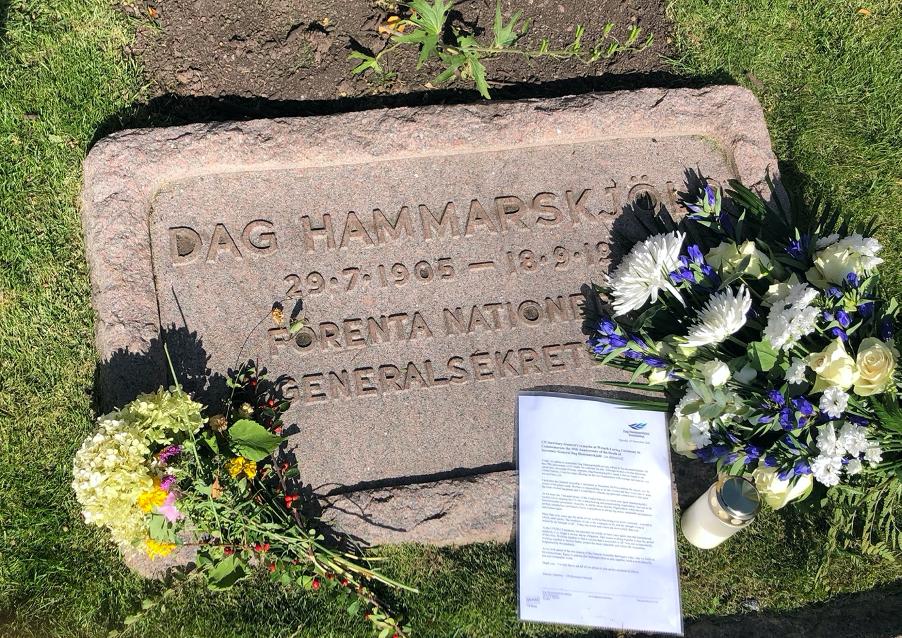 Flowers laid on Dag Hammarskjöld's grave.