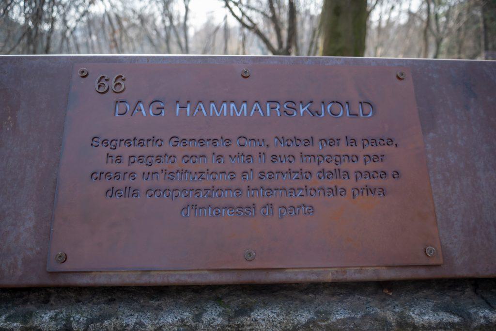 A plaque honouring Dag Hammarskjöld