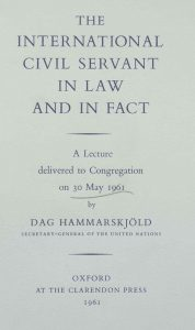 The cover of the OUP version of The International Civil Servant in Law and in Fact