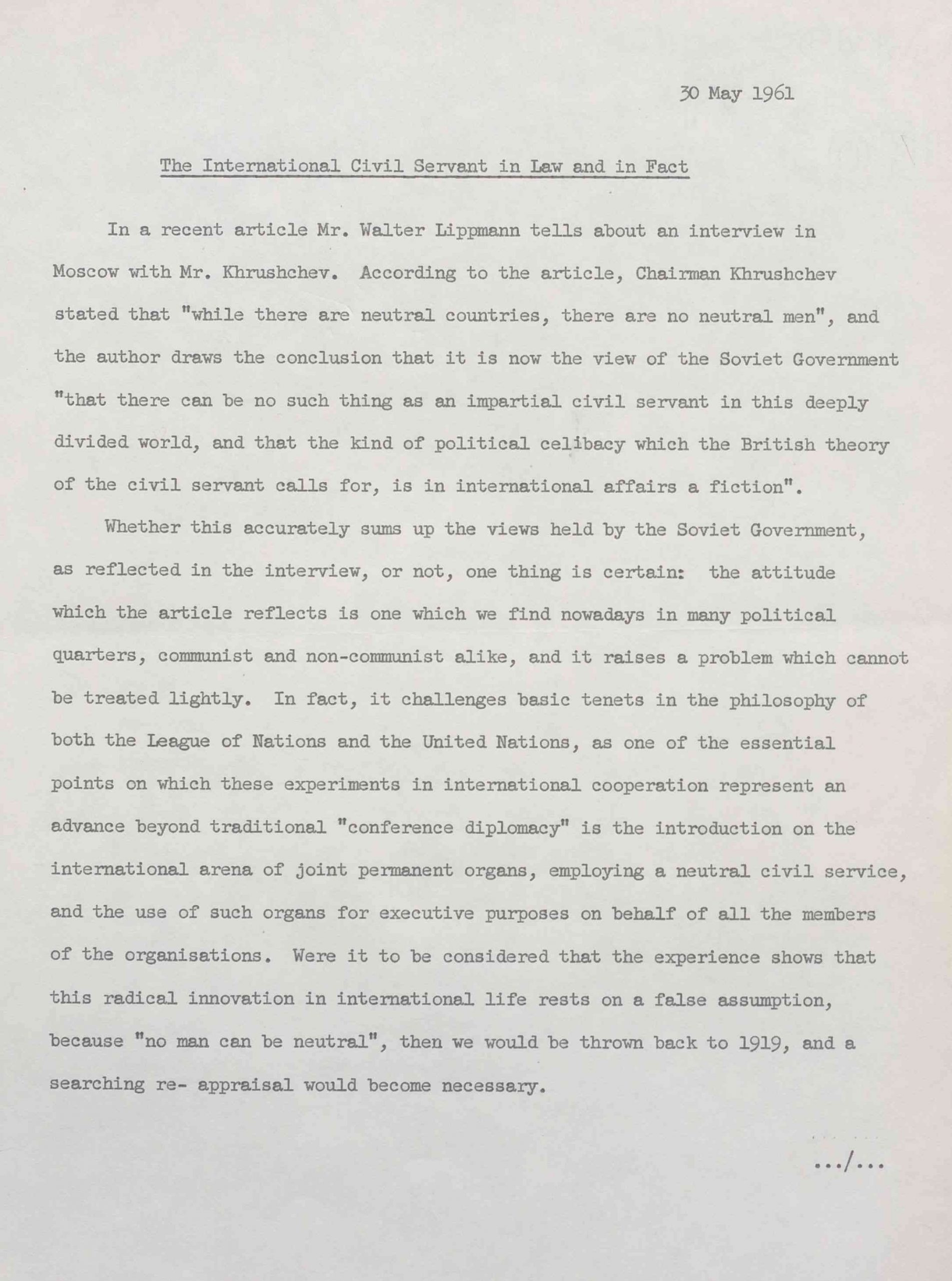 A scan of the first page of Dag Hammarskjöld's reading copy of 'The International Civil Servant in Law and in Fact'