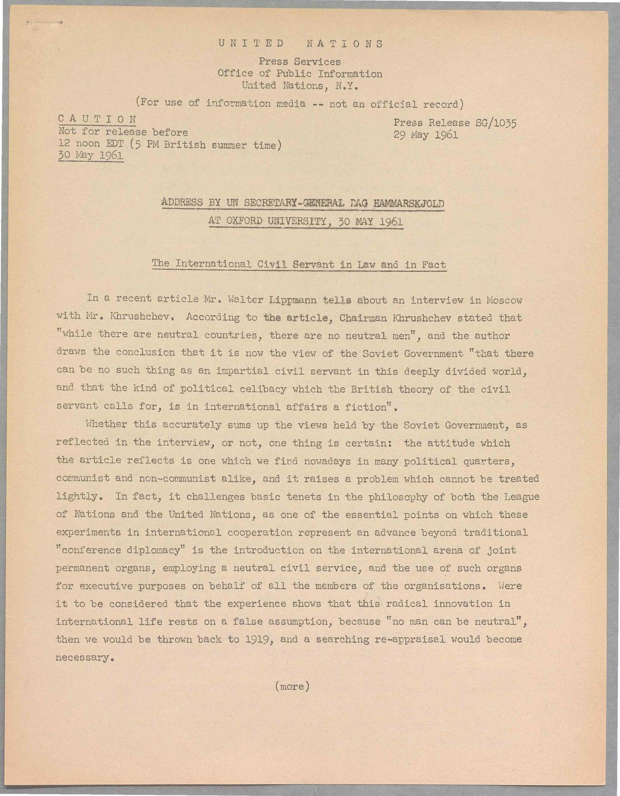 A reproduction of the first page of a UN press release from 29 May 1961