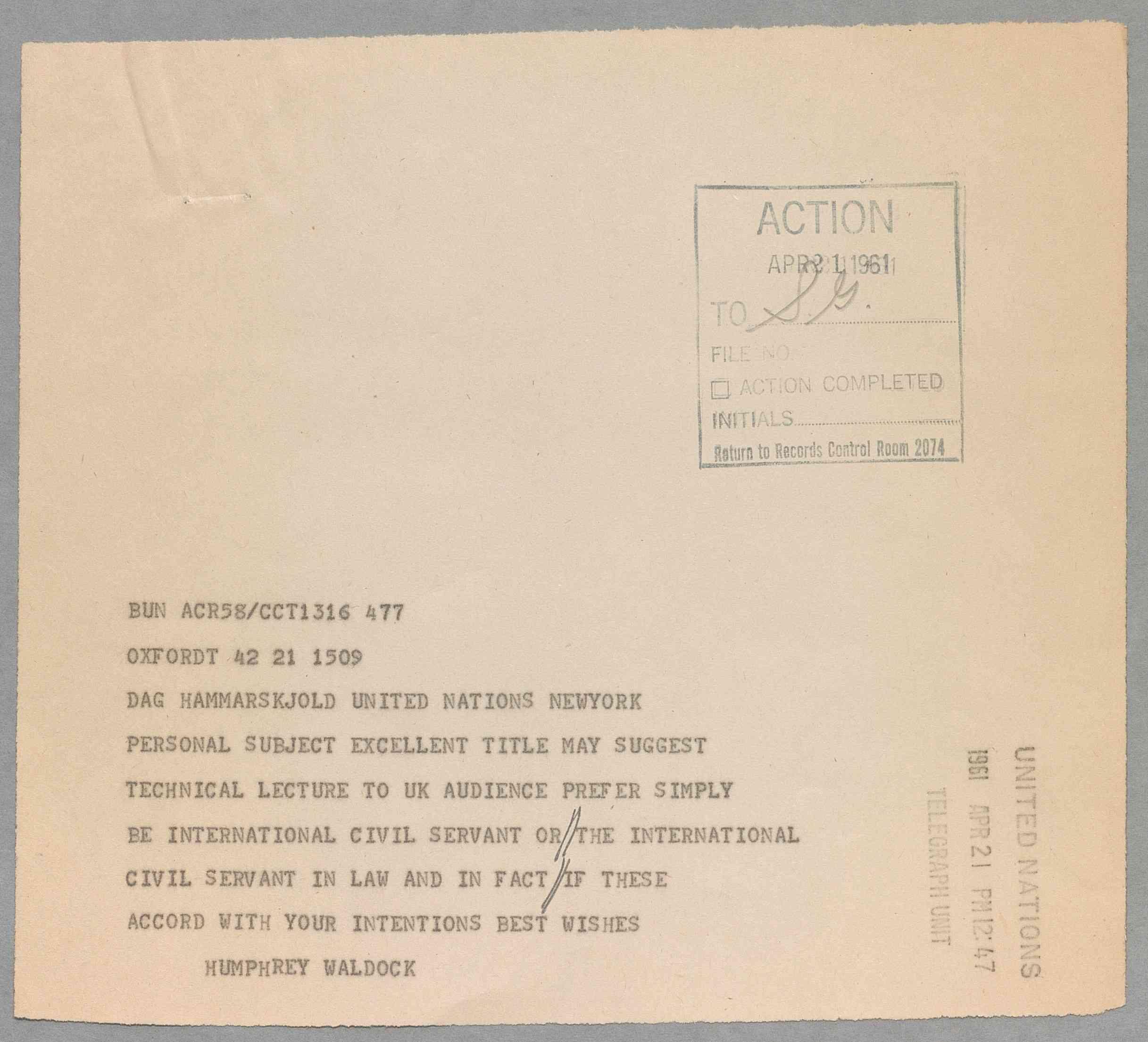 A reproduction of a telegram from Sir Humphrey Waldock to Dag Hammarskjöld sent on 21 April 1961.